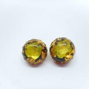 Jewelry - Vintage Green Black Foil Clip Earrings
